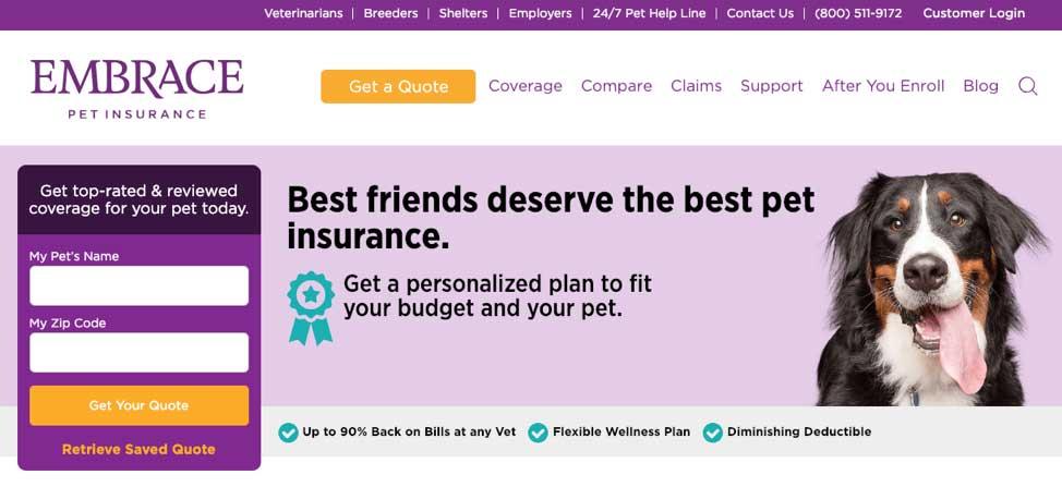 embrace pet insurance screenshot