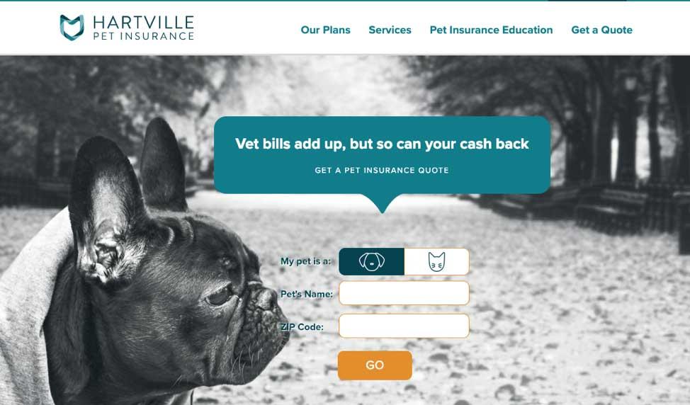 Hartville pet insurance screenshot