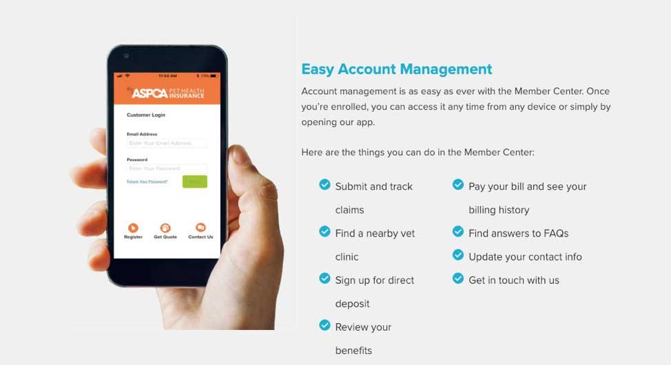 ASPCA Pet Health easy account managment